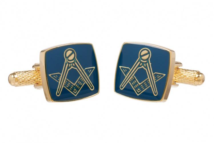 Masonic Blue Square & Compass Gold Colour Cufflinks
